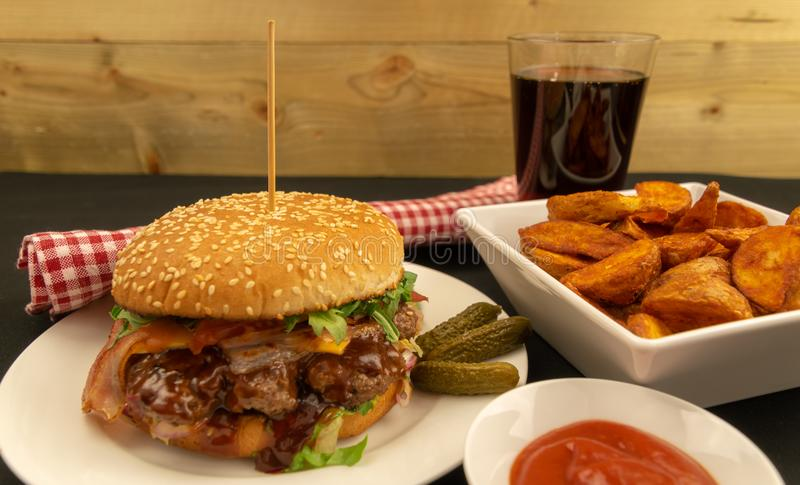 Beff Burger - Fast Food. Fresh & Tasty Beff Burger with Bacon - Fast Food royalty free stock photo