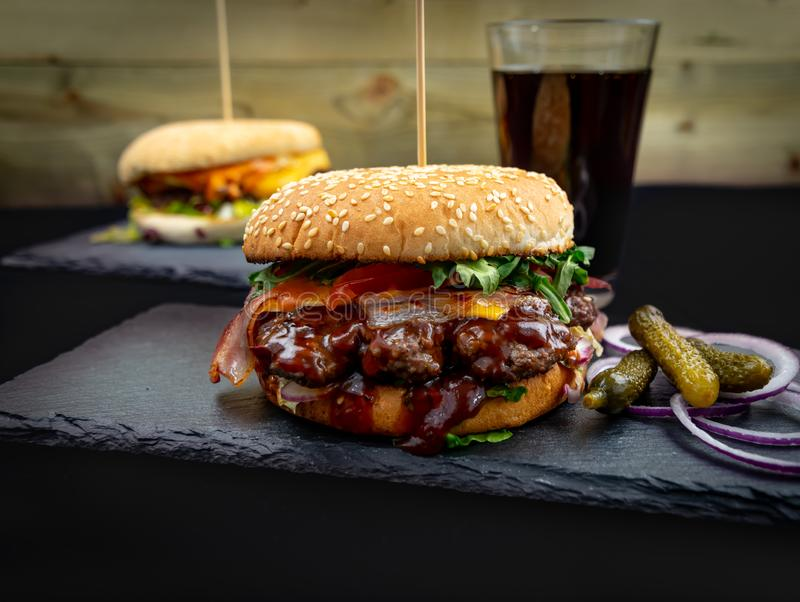 Beff Burger - Fast Food. Fresh & Tasty Beff Burger with Bacon - Fast Food stock photos