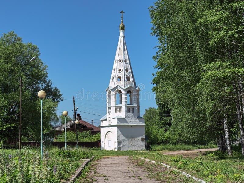 Beffroi d'église de présentation dans Bezhetsk, Tver Oblast, Russie image stock