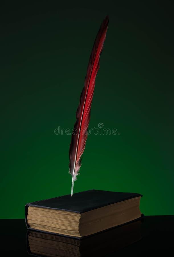 Befjädra pennan med bläckhornen och den gamla boken på trätabellen arkivbilder
