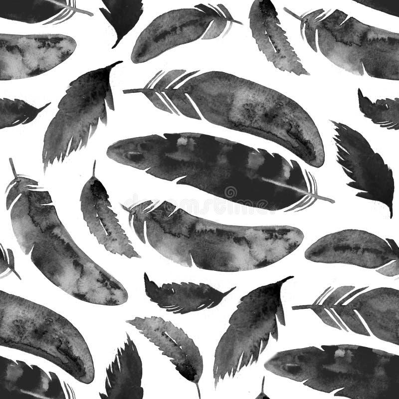 Befjädrar den sömlösa modellen för vattenfärgen med svart på vit stock illustrationer