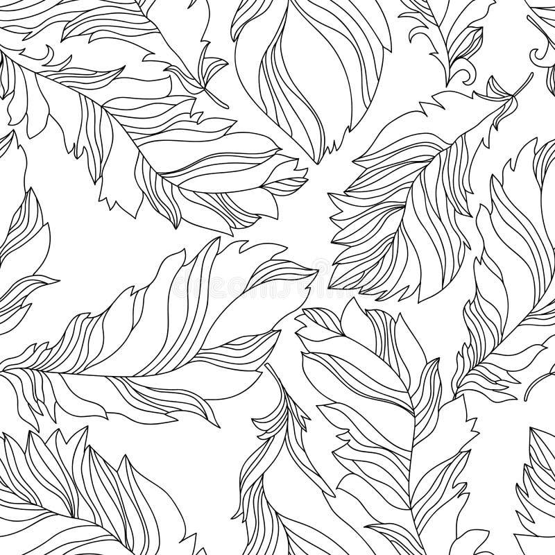 Befjädrar seamless mönstrar stock illustrationer