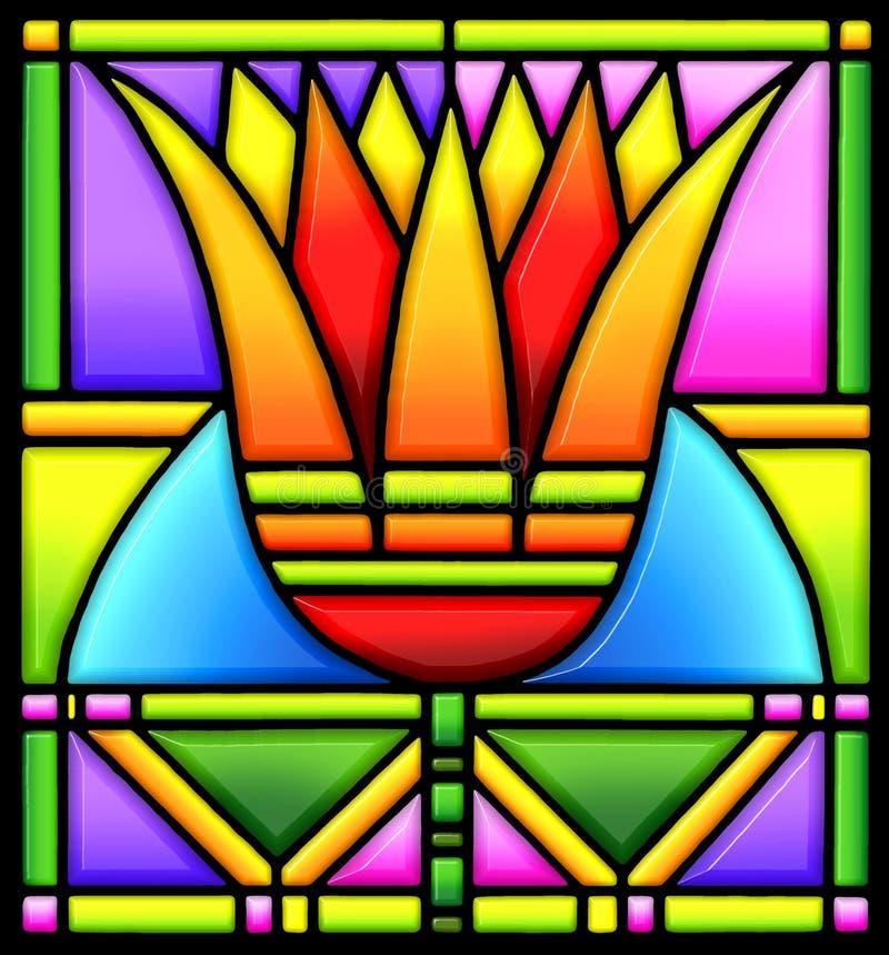 befläckt glass lotusblomma vektor illustrationer