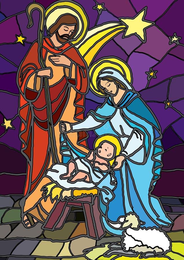 befläckt glass nativity royaltyfri illustrationer