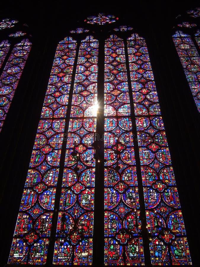 befläckte glass sainte för chapelle royaltyfri fotografi