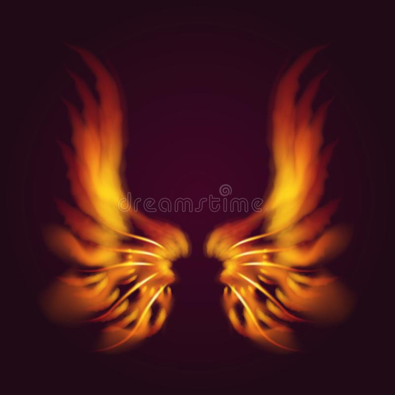 Beflügelt heiße Kunst des mystischen Brandes des Glühens der Vogelfeuerflügelvektorphantasiefeder Burningfliege brennenden Illust lizenzfreie abbildung