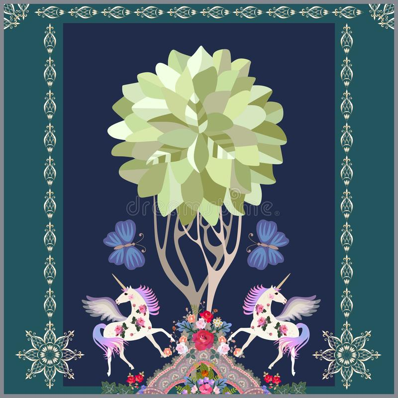 Befl?gelte Einh?rner, gro?e Schmetterlinge, Baum des Lebens und Luxusblumenverzierung auf dunkelblauem Hintergrund im Vektor Naiv lizenzfreie abbildung