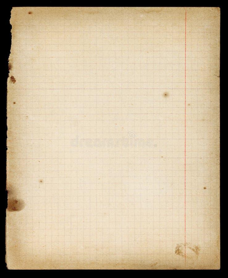 Befleckte alte gezeichnete Schreibheftseite mit Rändern lizenzfreie stockbilder