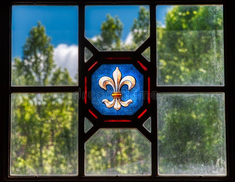Beflecktes und antikes Glas an der historischen Harweldon-Villa in Tulsa Oklahoma stockfoto