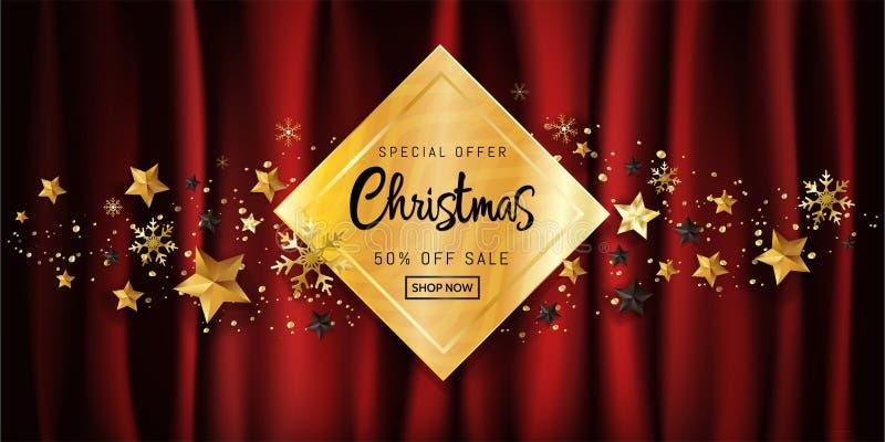 Befordran för baner för affisch för elegant design för jul calligraphic till salu på den guld- gåvaasken som dekoreras med guld-  stock illustrationer