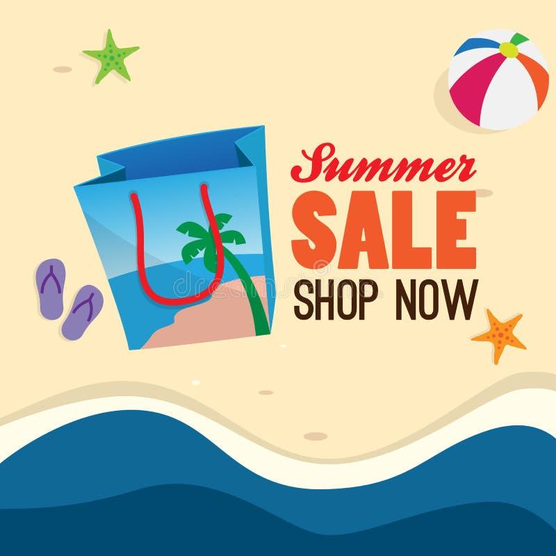 Befordran för baner för sommarförsäljningsaffisch symbol för shoppingpåse med design för sandstrandbakgrund royaltyfri illustrationer