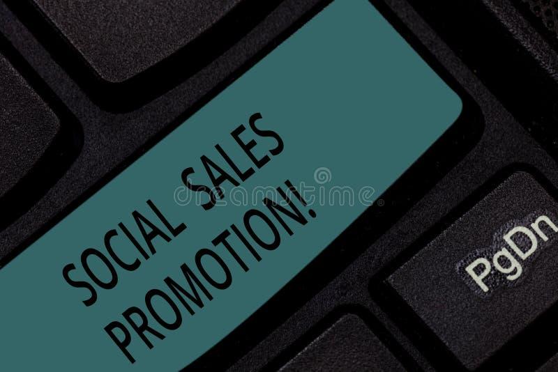 Befordran för försäljningar för handskrifttext social Begreppsbetydelse ger förädlingsgrad eller incitament till konsumentonline- royaltyfri fotografi