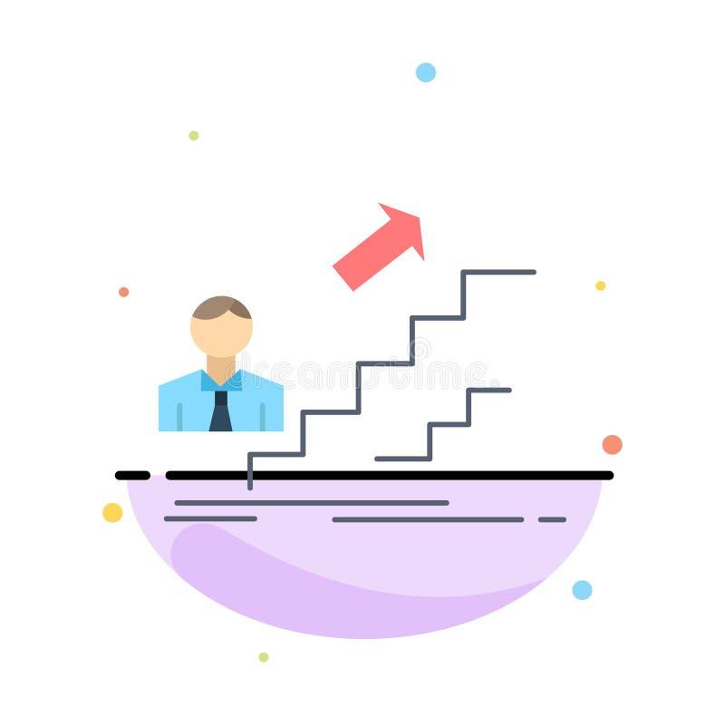befordran framgång, utveckling, ledare, för färgsymbol för karriär plan vektor stock illustrationer