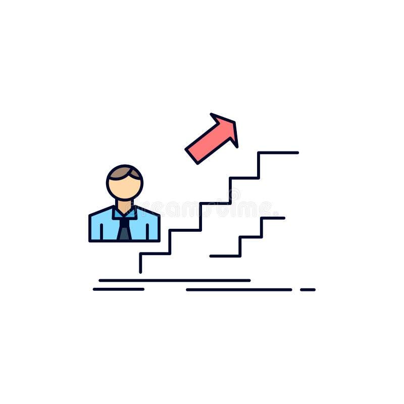 befordran framgång, utveckling, ledare, för färgsymbol för karriär plan vektor vektor illustrationer
