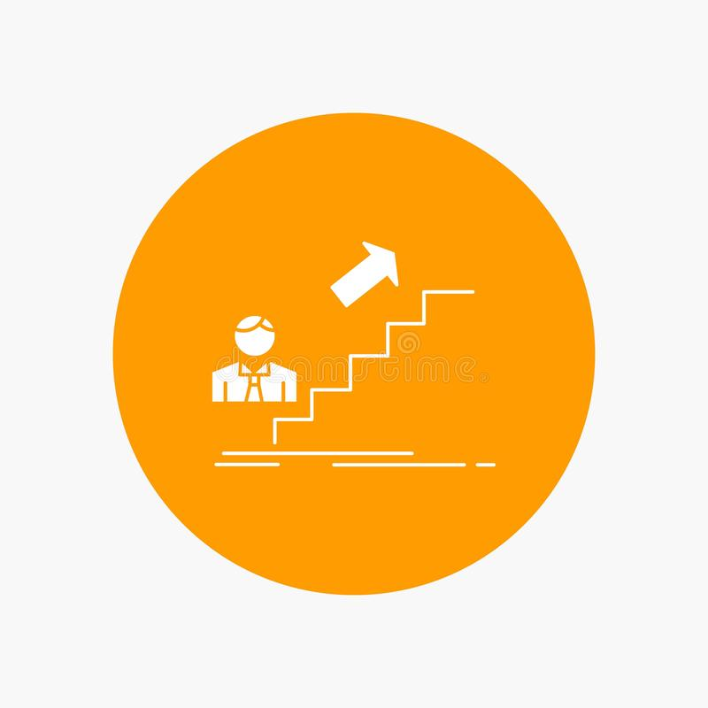 befordran framgång, utveckling, ledare, vit skårasymbol för karriär i cirkel Vektorknappillustration vektor illustrationer
