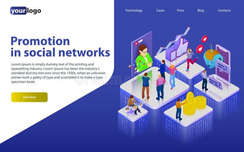 Befordran i sociala nätverk Chatbot videoTV-sändning, berättelser, SMM-befordran, online-analytics Folk i socialt nätverk puz 3d stock illustrationer