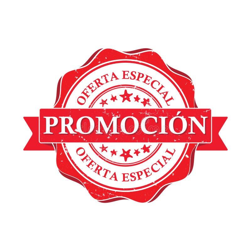 befordran Specialt erbjudande - spansk tryckbar stämpel för affär vektor illustrationer