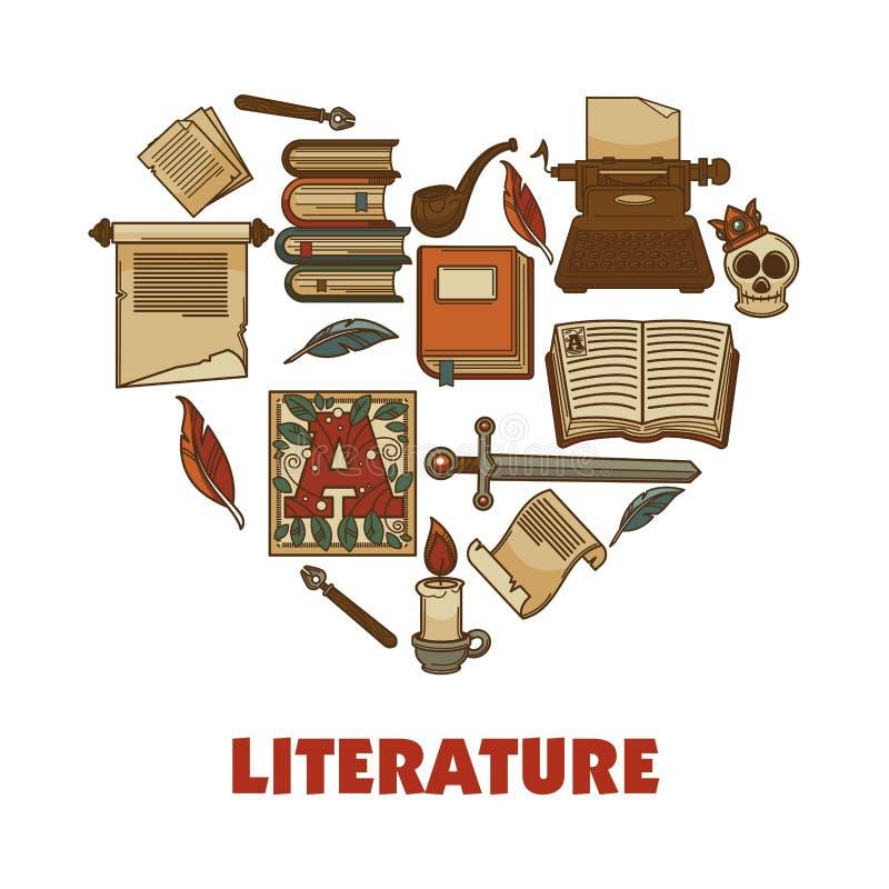 Befordrings- affisch för litteratur med böcker och papperstackor royaltyfri illustrationer