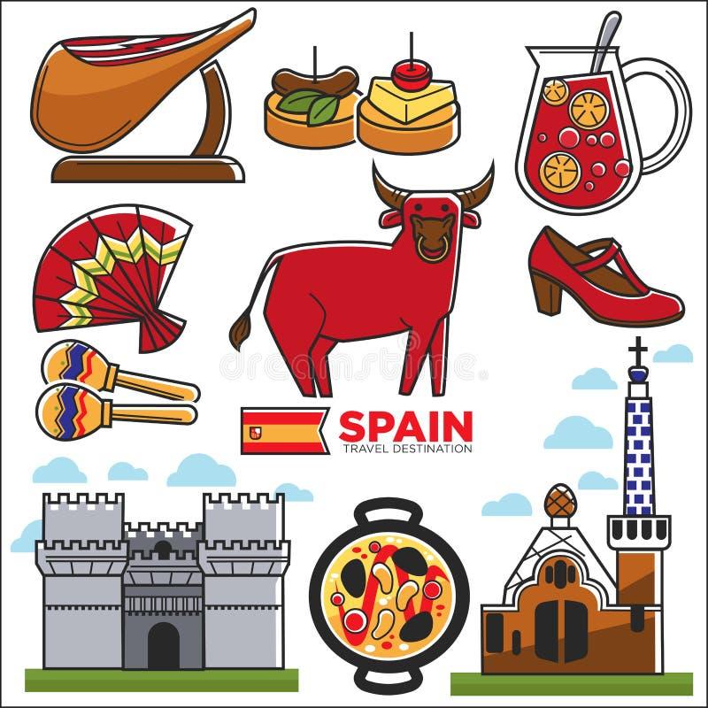Befordrings- affisch för Spanien loppdestination med egenillustrationer royaltyfri illustrationer