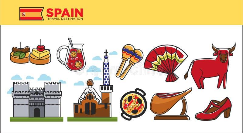 Befordrings- affisch för Spanien loppdestination med landssymboler stock illustrationer