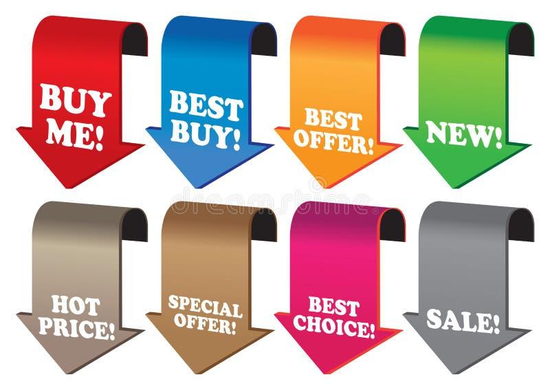 Befordrings- försäljningsetiketter stock illustrationer