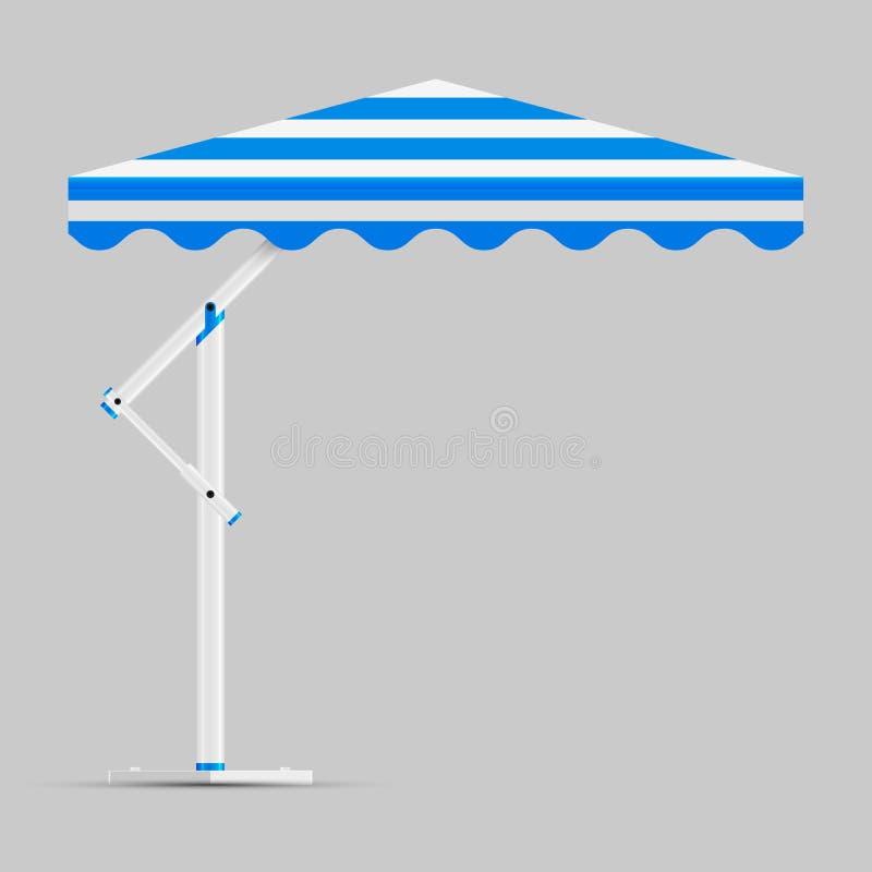 Befordrings- fyrkantig annonserande utomhus- blå och vit paraplyslags solskydd för trädgård eller för strand Förlöjliga upp, vekt stock illustrationer