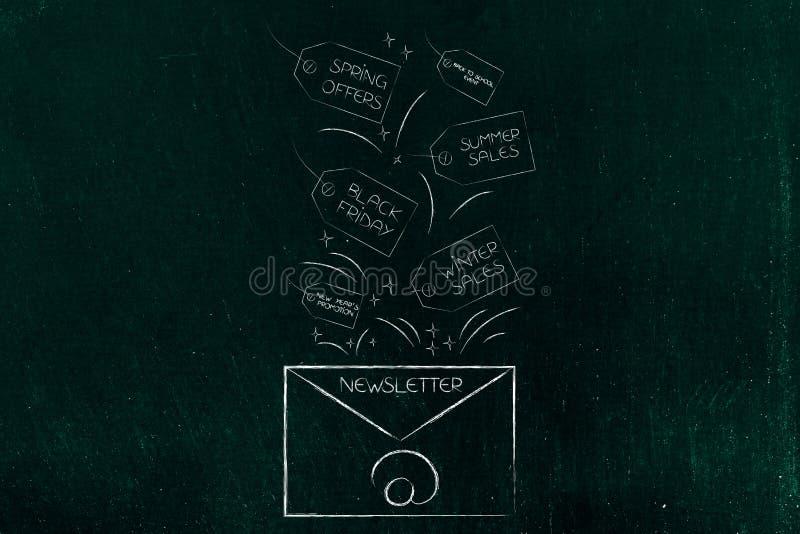 Befordrings- informationsblad med säsongsbetonade försäljningshändelser på prislappar vektor illustrationer