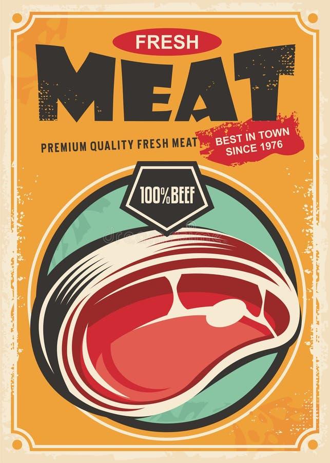 Befordrings- retro affischdesign för nytt kött royaltyfri illustrationer