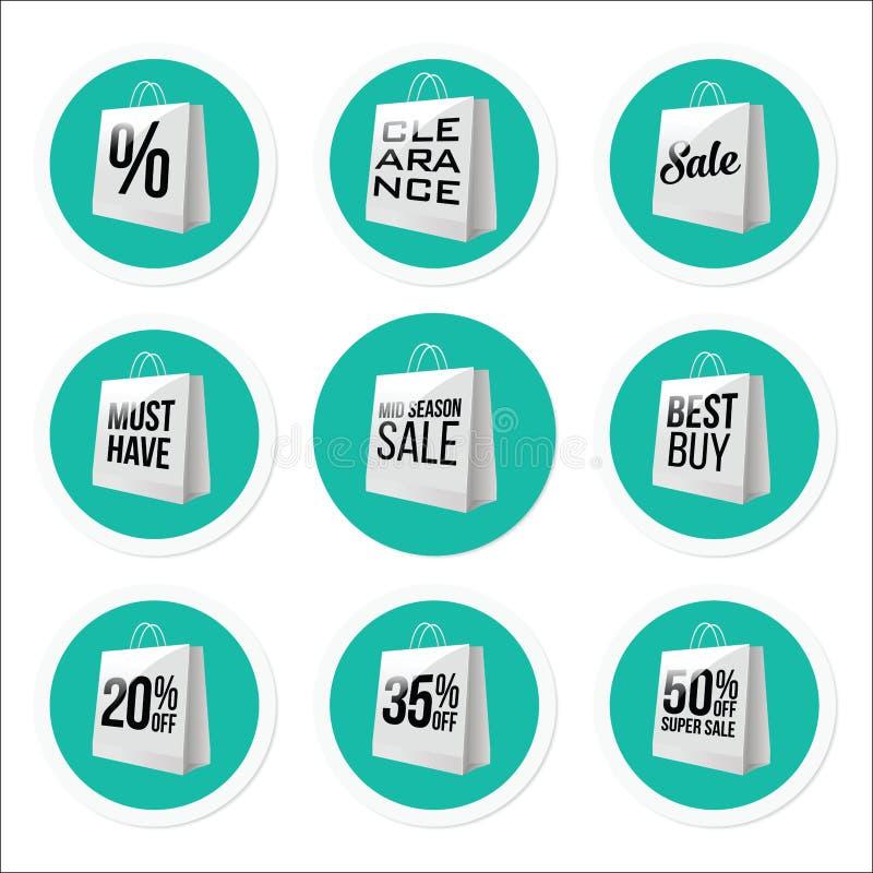 Befordrings- Sale klistermärkesamling vektor illustrationer