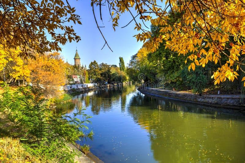 Bega River, Timisoara, Romania. Bega river shore seen on a beautiful autumn day, Timisoara, Romania royalty free stock images