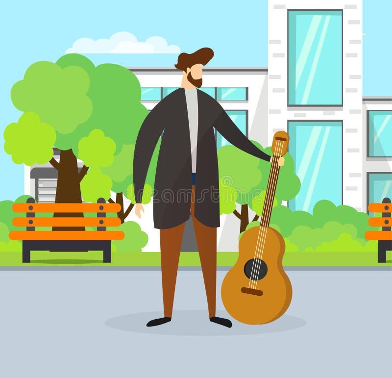 Begaafde Musicus Guy Holding Guitar op Straat stock illustratie