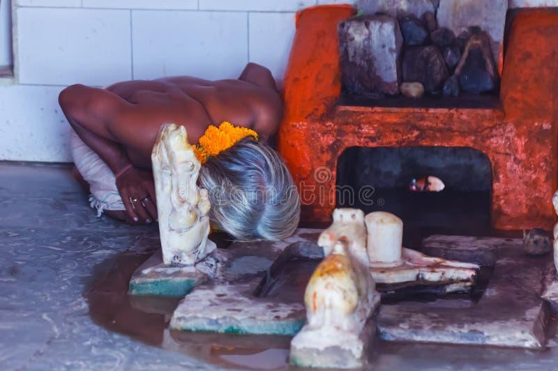 Begaat de portret Indische yogi Baba Ramis riten heilige rituelen India, Anor, royalty-vrije stock foto's