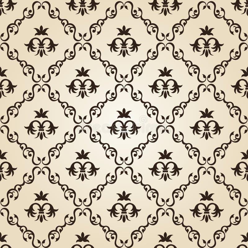 Bege floral do fundo sem emenda do papel de parede do vintage ilustração do vetor
