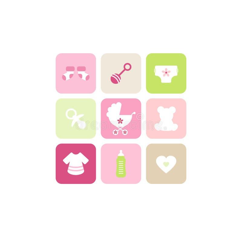 Bege verde cor-de-rosa dos ícones da menina nove do cartão do bebê ilustração do vetor