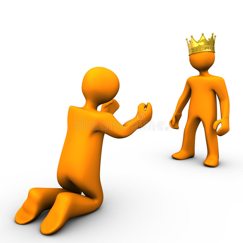 Beggar and King. With golden crown, on white background vector illustration