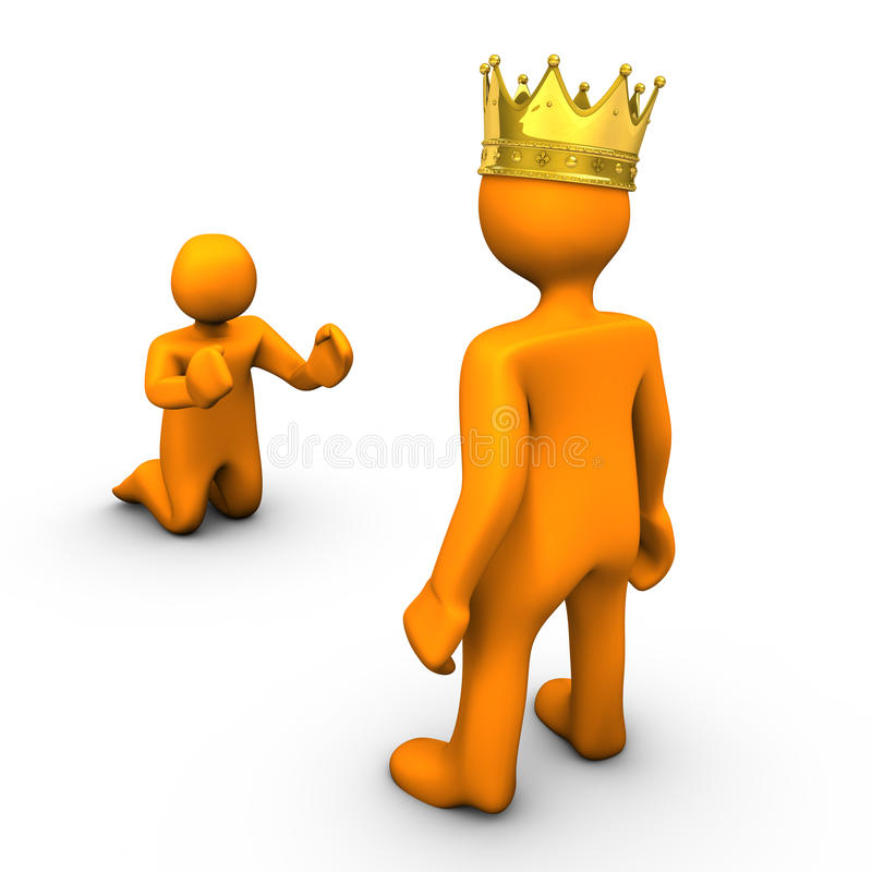 Beggar and King. With golden crown, on white background royalty free illustration