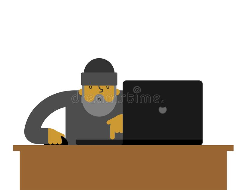 Beggar laptop working. pauper and notebook. Homeless vector illustration vector illustration