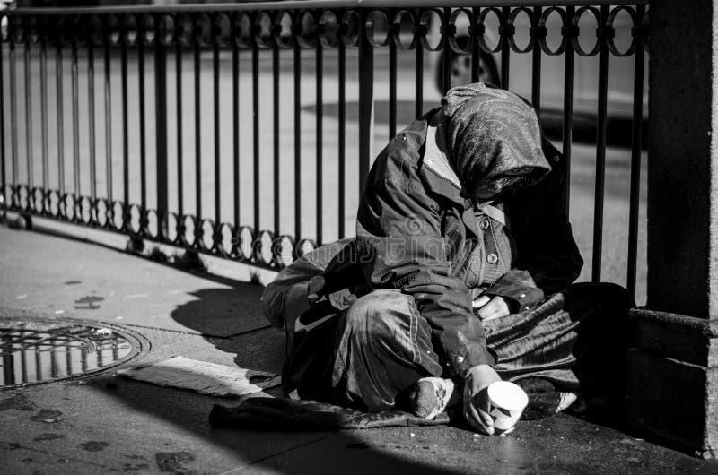 Beggar in madrid stock photo