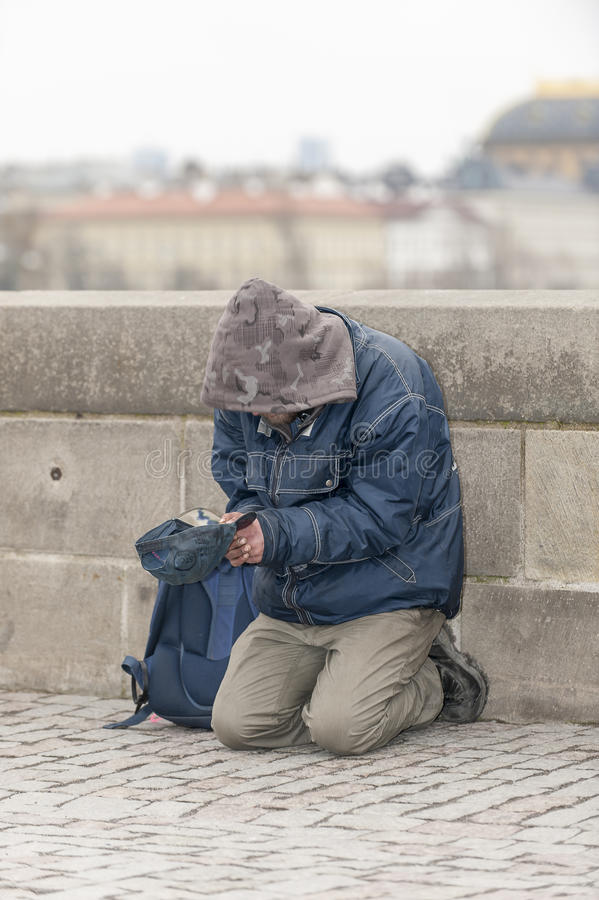 Beggar in Prague stock images