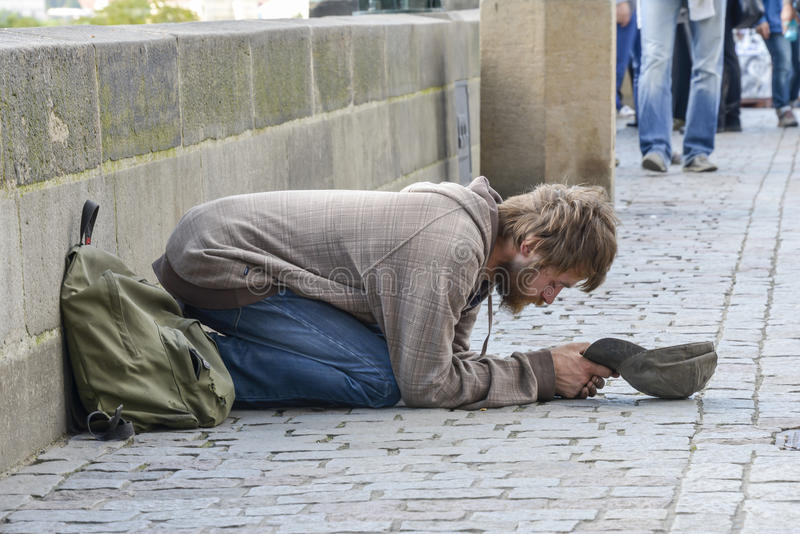 Beggar Prague stock photos