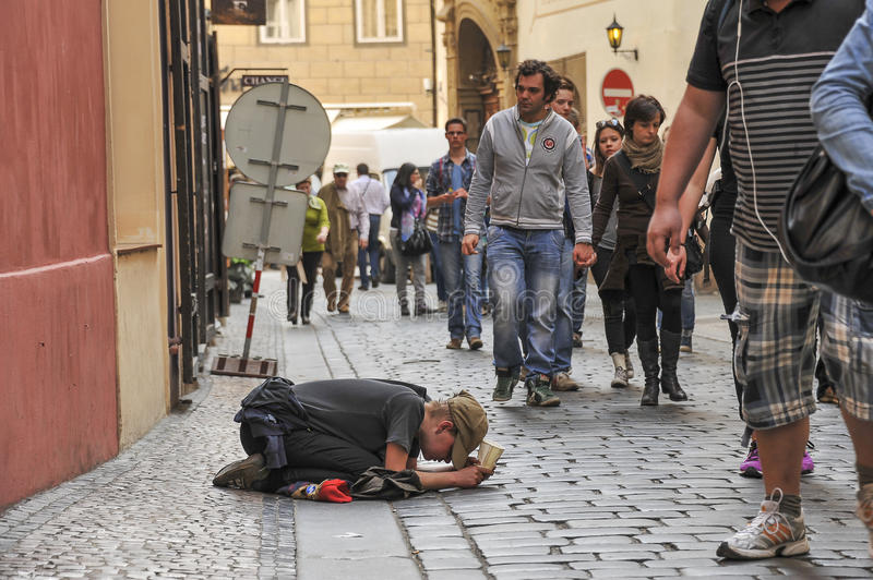 Beggar in Prague stock photos