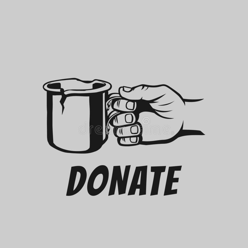 Beggar`s hand with a mug vector illustration. Donate and help. Hand of beggar who ask for money stock illustration