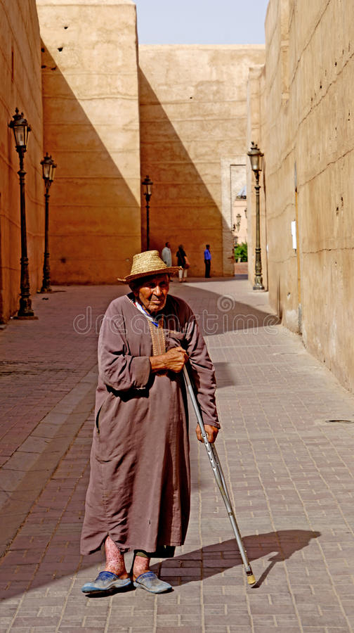 A beggar in the streets of Marrakech stock photo