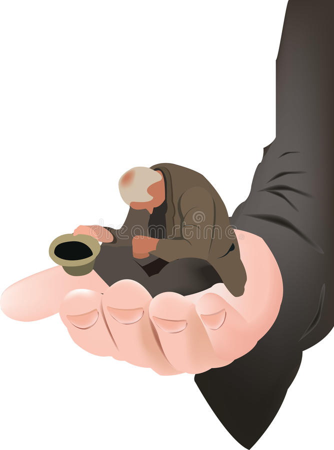 Beggar support poverty. Assistance  assistance stock illustration