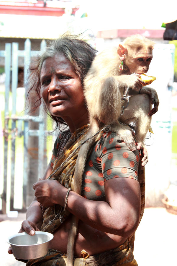 Beggar woman carrying a monkey and begs stock image