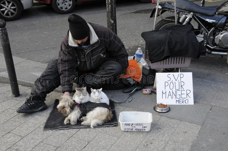Beggars and his pets in financial crisis stock images