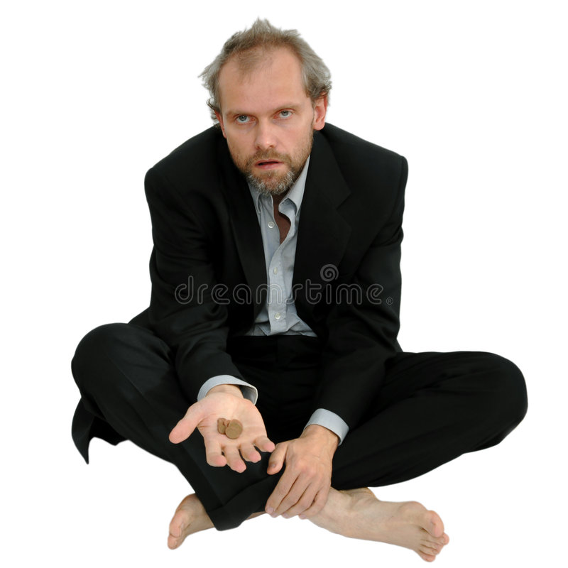 Begging businessman. With some coins, isolated stock photography