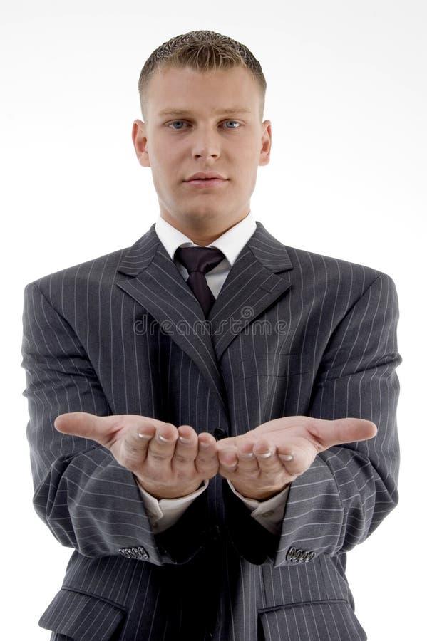 begging businessman gesture showing στοκ εικόνες