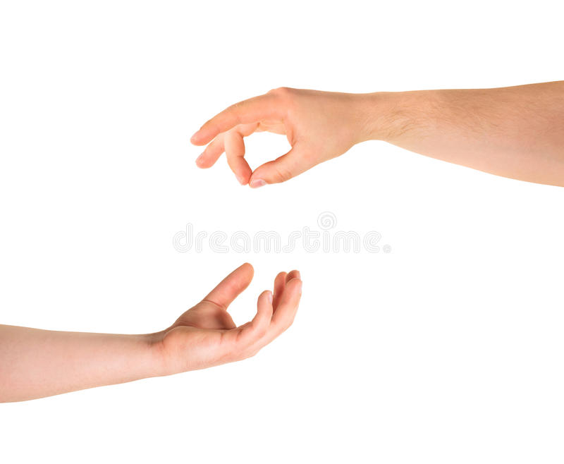 Begging for help hand gesture isolated. Begging for alms help caucasian hand gesture composition isolated over white background stock photo
