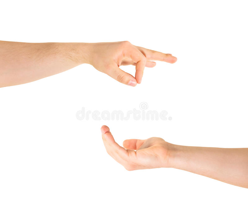 Begging for help hand gesture isolated. Begging for alms help caucasian hand gesture composition isolated over white background royalty free stock photo